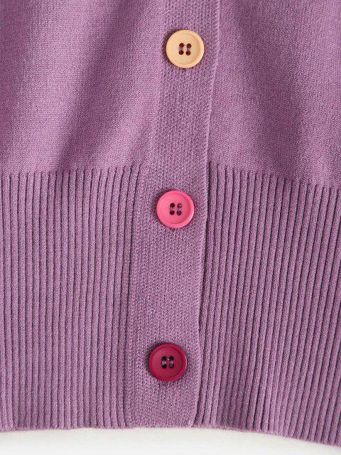 women Drop Shoulder Cardigan with Patched - PURPLE ONE SIZE Mobile