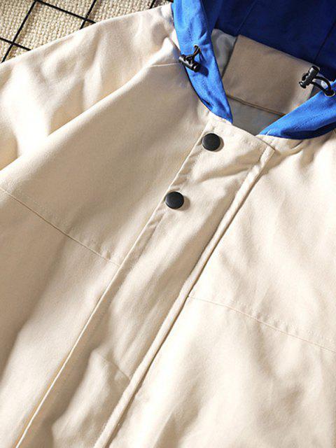 Veste à Capuche en Blocs de Couleurs Manches Raglan avec Poche à Rabat - Kaki S Mobile