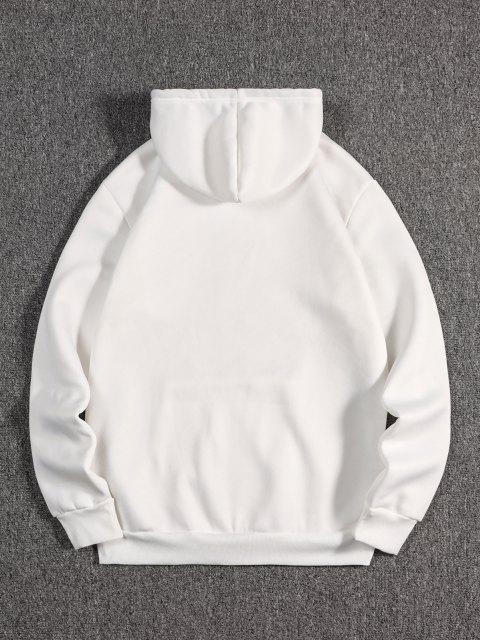 Buchstabe Kran Drucken Orientalische Vlies Hoodie - Weiß M Mobile