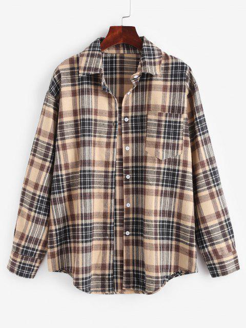 Camisa Xadrez de bolso no peito - Café Light M Mobile