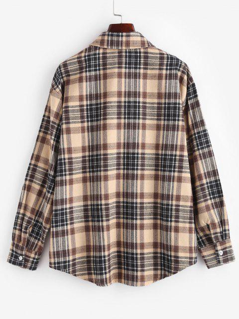 women Plaid Pocket Boyfriend Shirt - LIGHT COFFEE L Mobile