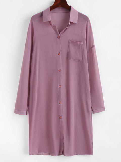 shop Front Pocket Longline Chiffon Shirt - LIGHT PURPLE M Mobile
