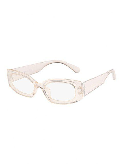 trendy Rectangle Wide Temple Sunglasses - WHITE  Mobile