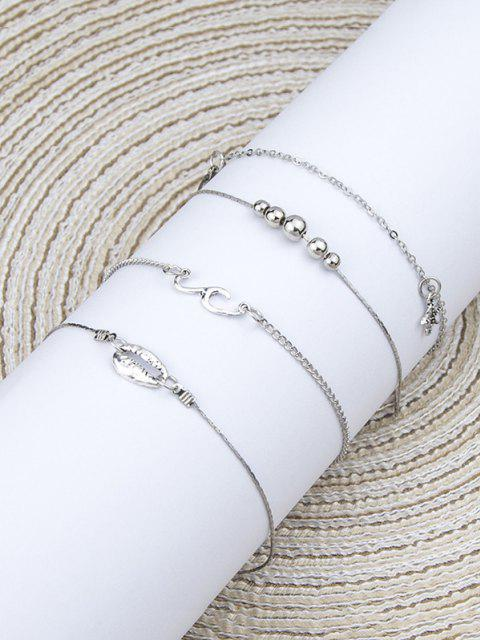 ladies 3Pcs Cowrie Shell Sea Wave Shape Anklet Set - SILVER  Mobile