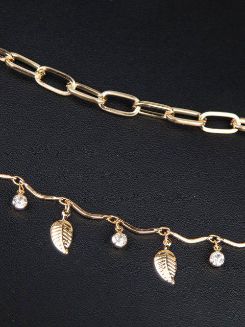 best 2Pcs Leaf Rhinestone Chain Anklet Set - GOLDEN  Mobile