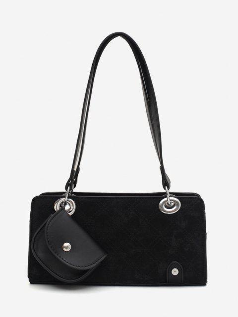 shops Stitching Coin Bag Pendant Shoulder Bag - BLACK  Mobile