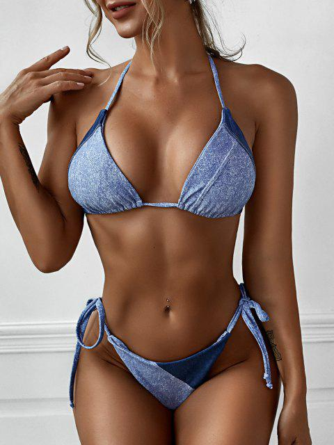 fancy ZAFUL Denim Color String Tanga Bikini Swimwear - LIGHT BLUE S Mobile