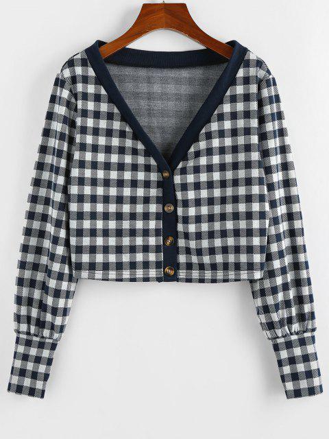 women ZAFUL Plaid Plunge Long Cuff Knit Cardigan - DARK SLATE BLUE S Mobile