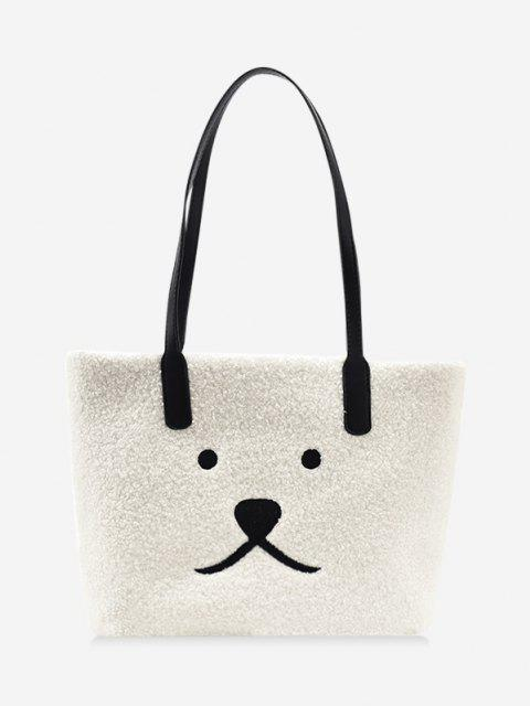 affordable Animal Print Sherpa Fleece Shoulder Bag - WHITE  Mobile