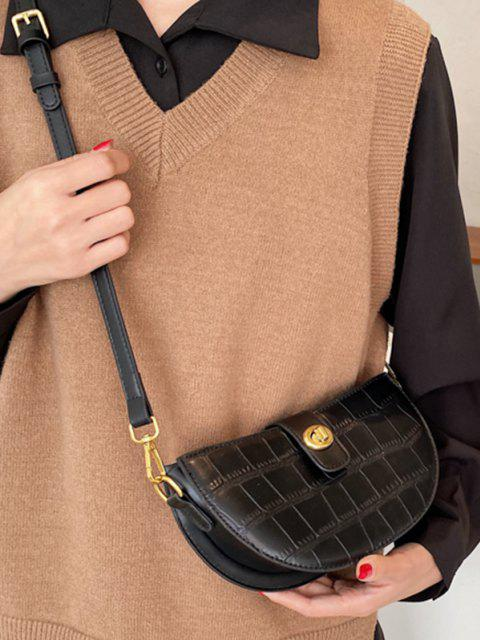 womens Semicircle Textured Crossbody Bag - BLACK  Mobile