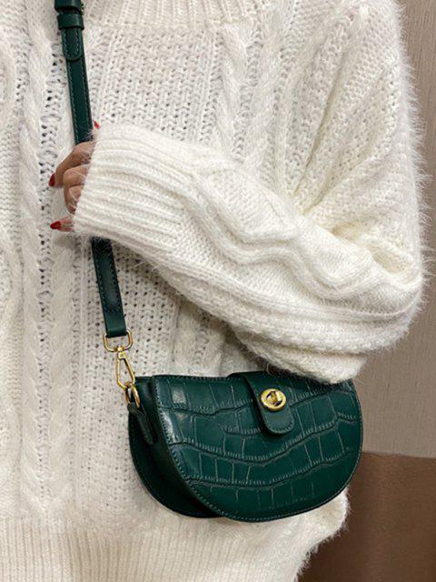 women Semicircle Textured Crossbody Bag - DEEP GREEN  Mobile