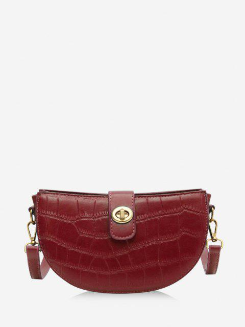 Semicircle Textured Crossbody Bag - أحمر  Mobile