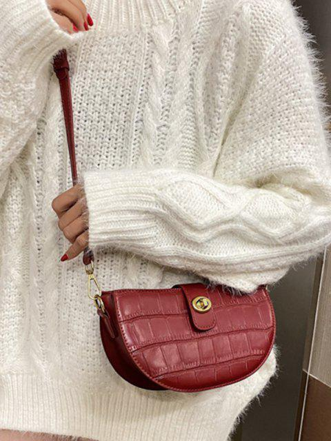 women's Semicircle Textured Crossbody Bag - RED  Mobile
