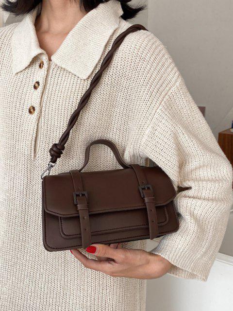 Twist Strap Crossbody Messenger Bag - قهوة  Mobile