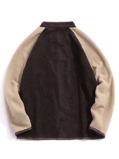 unique Colorblock Raglan Sleeve Teddy Jacket - DEEP COFFEE S Mobile