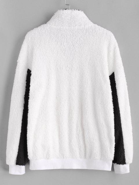 Veste Bicolore Fourrée Phrase Brodée - Blanc S Mobile