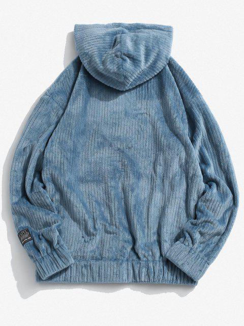 ladies Front Pocket Letter Patch Plush Hoodie - BLUE XL Mobile