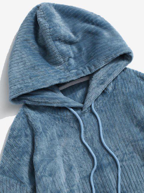 Vorder Tasche Buchstaben Patch Plüsch Hoodie - Blau 2XL Mobile
