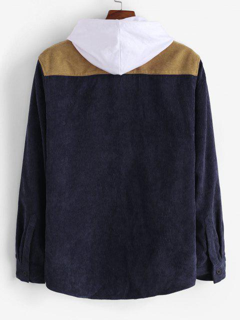 womens Colorblock Patchwork Corduroy Shirt - DEEP BLUE 2XL Mobile