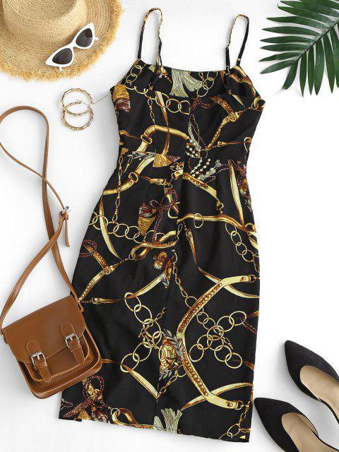 sale 3D Chain Print Cinched Cami Mini Dress - BLACK M Mobile