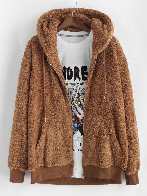 outfits Hooded Faux Fur Fluffy Jacket - COFFEE M Mobile