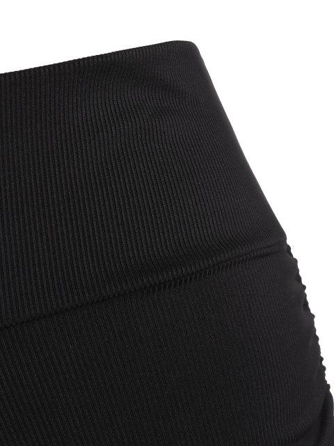 latest ZAFUL Plus Size Ribbed Ruched Side Cinched Swim Boyshorts - BLACK XXXXL Mobile