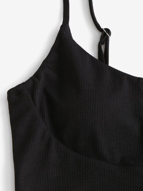 fashion ZAFUL Ribbed Cow Print Three Piece String Bikini Swimwear - BLACK L Mobile