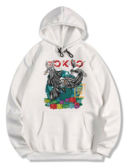 chic Flowers and Birds Print Oriental Fleece Hoodie - WHITE L Mobile