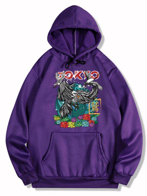 womens Flowers and Birds Print Oriental Fleece Hoodie - PURPLE IRIS M Mobile