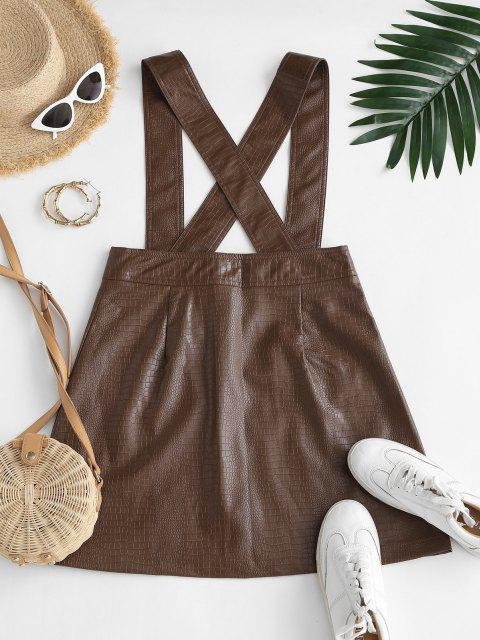 shop Faux Leather Button Fly Suspender Skirt - COFFEE XS Mobile