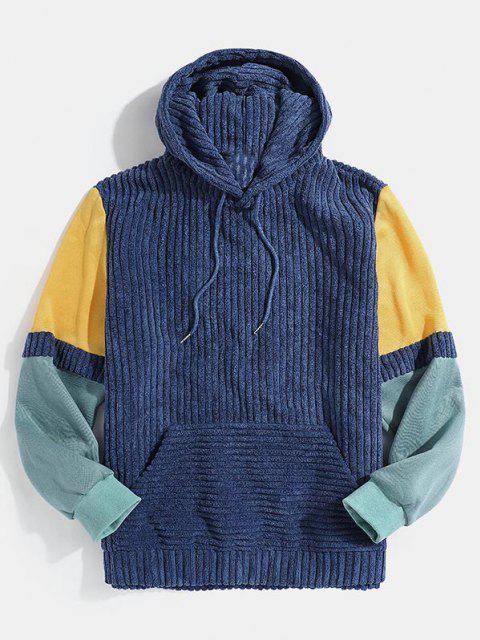 Front Pocket Colorblock Corduroy Hoodie - أزرق M Mobile