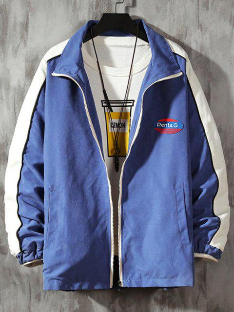 ladies Letter Patch Colorblock Panel Jacket - DENIM BLUE L Mobile