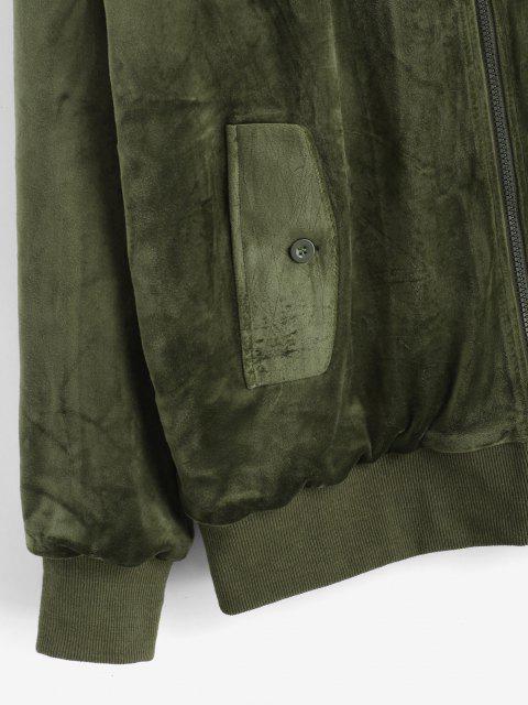 buy Zip Up Solid Velvet Jacket - DEEP GREEN L Mobile