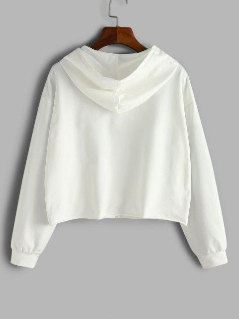 Letter Tape Half Zip Drop Shoulder Hoodie - أبيض XL Mobile