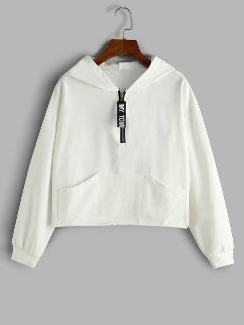 best Letter Tape Half Zip Drop Shoulder Hoodie - WHITE M Mobile