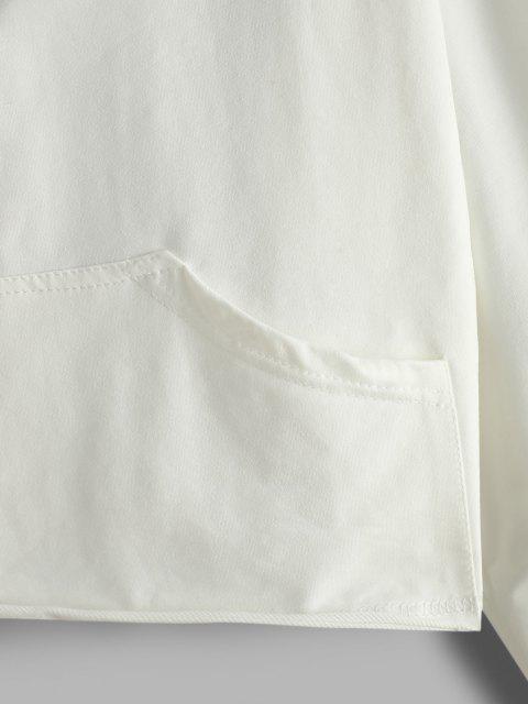 online Letter Tape Half Zip Drop Shoulder Hoodie - WHITE S Mobile