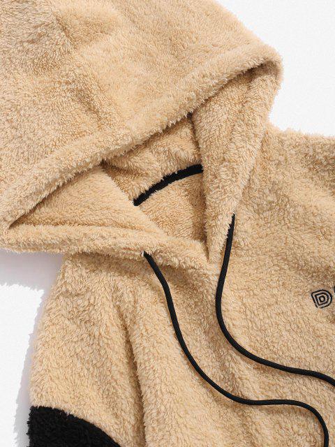 Sweat à Capuche Fourré en Blocs de Couleurs Lettre Brodée - Multi 2XL Mobile
