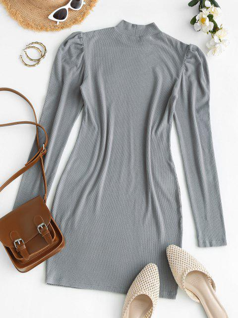 shops ZAFUL Mock Neck Ribbed Puff Sleeve Slinky Dress - LIGHT GRAY L Mobile