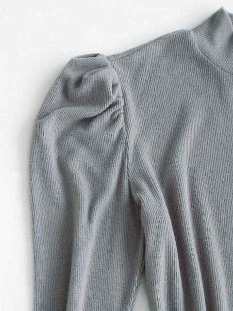 new ZAFUL Mock Neck Ribbed Puff Sleeve Slinky Dress - LIGHT GRAY XL Mobile