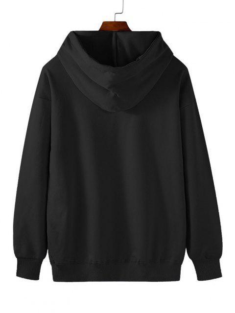 best Fleece Lined Planet Astronaut Print Hoodie - BLACK 2XL Mobile