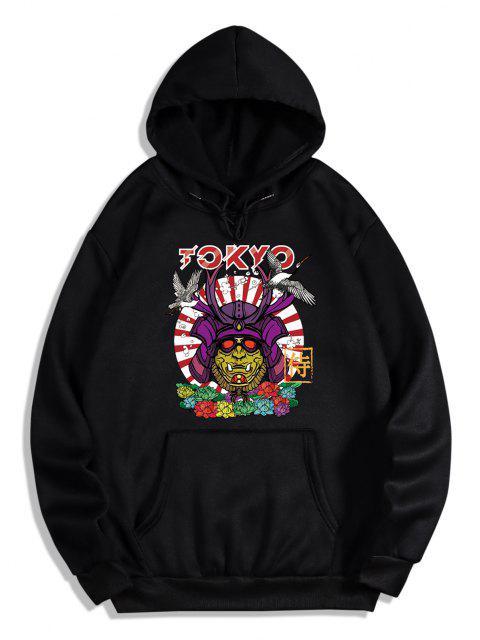 trendy Graphic Print Oriental Fleece Hoodie - BLACK M Mobile