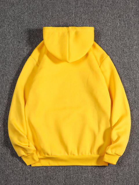 affordable Graphic Print Oriental Fleece Hoodie - YELLOW XL Mobile
