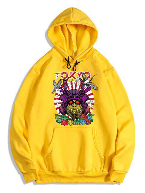 ladies Graphic Print Oriental Fleece Hoodie - YELLOW L Mobile