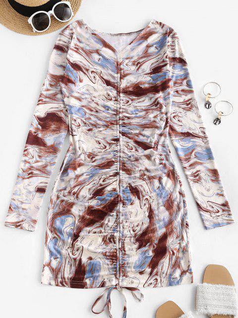 ladies Agate Print Cinched V Neck Mini Dress - MULTI M Mobile