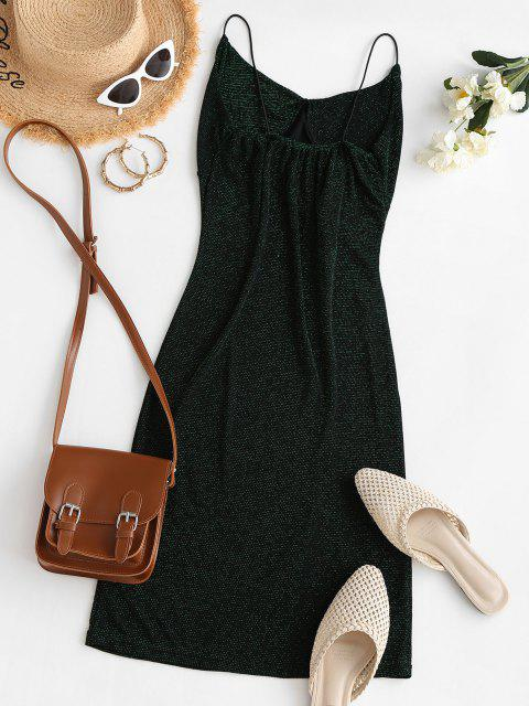 shop Shiny Ruched Side Slit Party Dress - DARK FOREST GREEN S Mobile