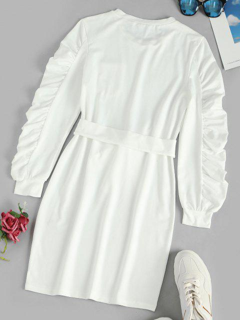 shops Ruched Long Sleeves Mini Belt Dress with Pocket - WHITE S Mobile