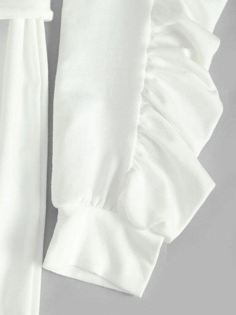 fancy Ruched Long Sleeves Mini Belt Dress with Pocket - WHITE XL Mobile