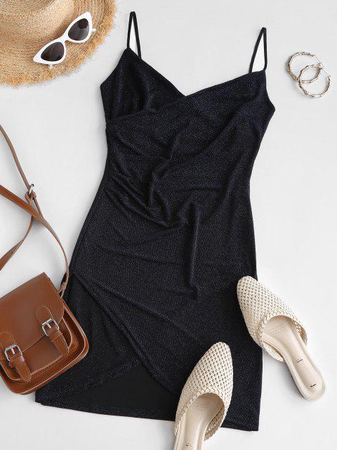 Glänzendes Gerafftes Tulpe-Nacht-Kleid - Schwarz M Mobile