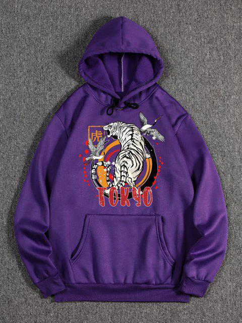 women Animal Tiger Crane Print Oriental Fleece Hoodie - PURPLE IRIS S Mobile