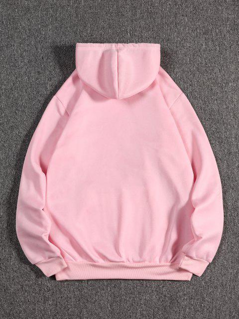 womens Animal Print Oriental Fleece Hoodie - PIG PINK 2XL Mobile